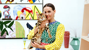 Caitlin Mociun with Cleo the bengal kitty