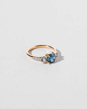 Left view of Orion Sapphire Cluster Ring