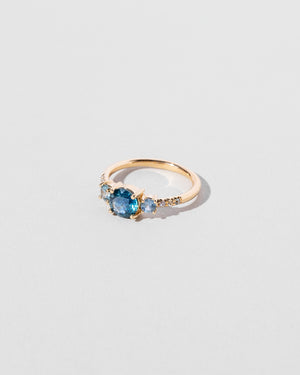 Left side view of Orion Sapphire Cluster Ring