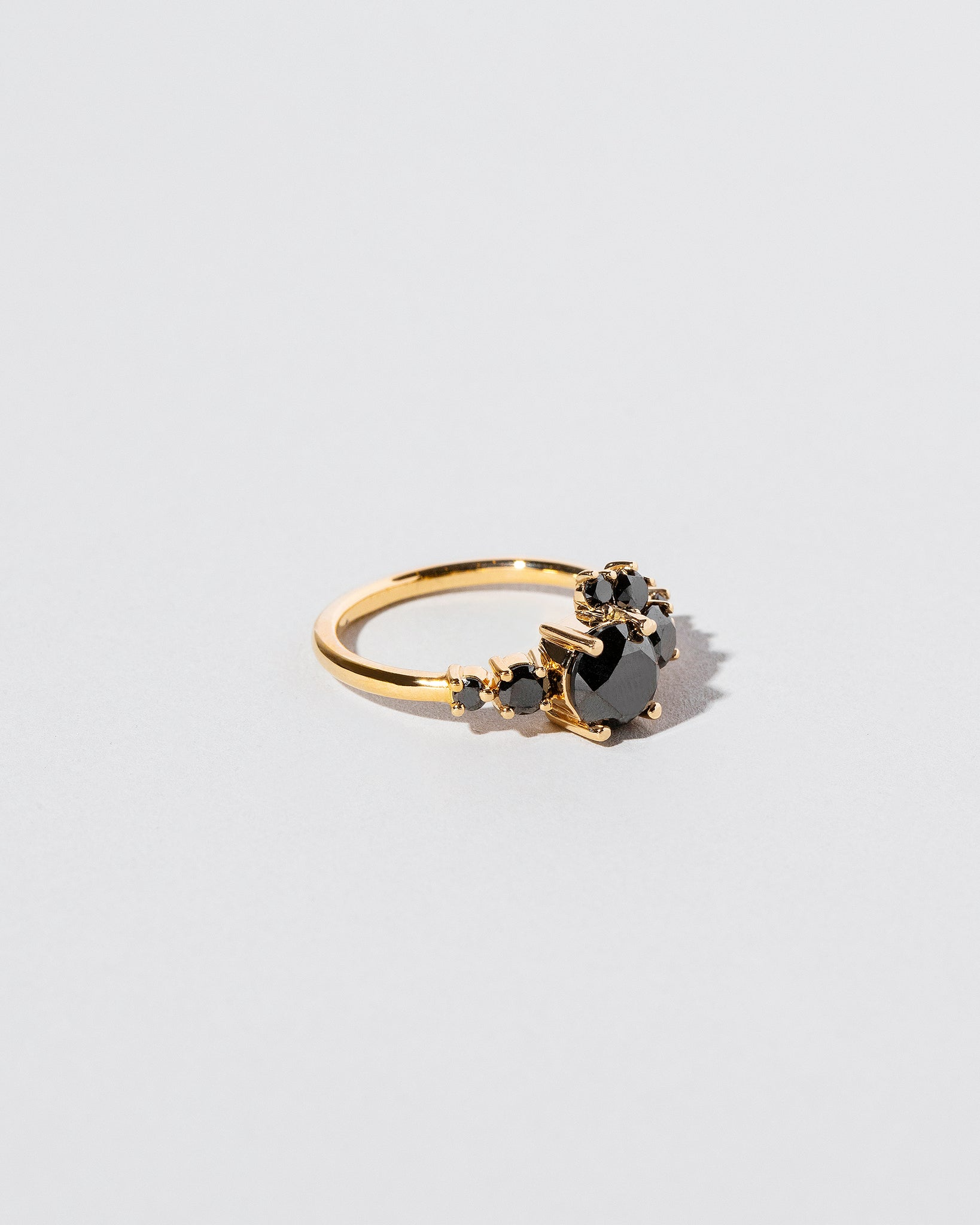 Side view of All Black Diamond Luna Ring