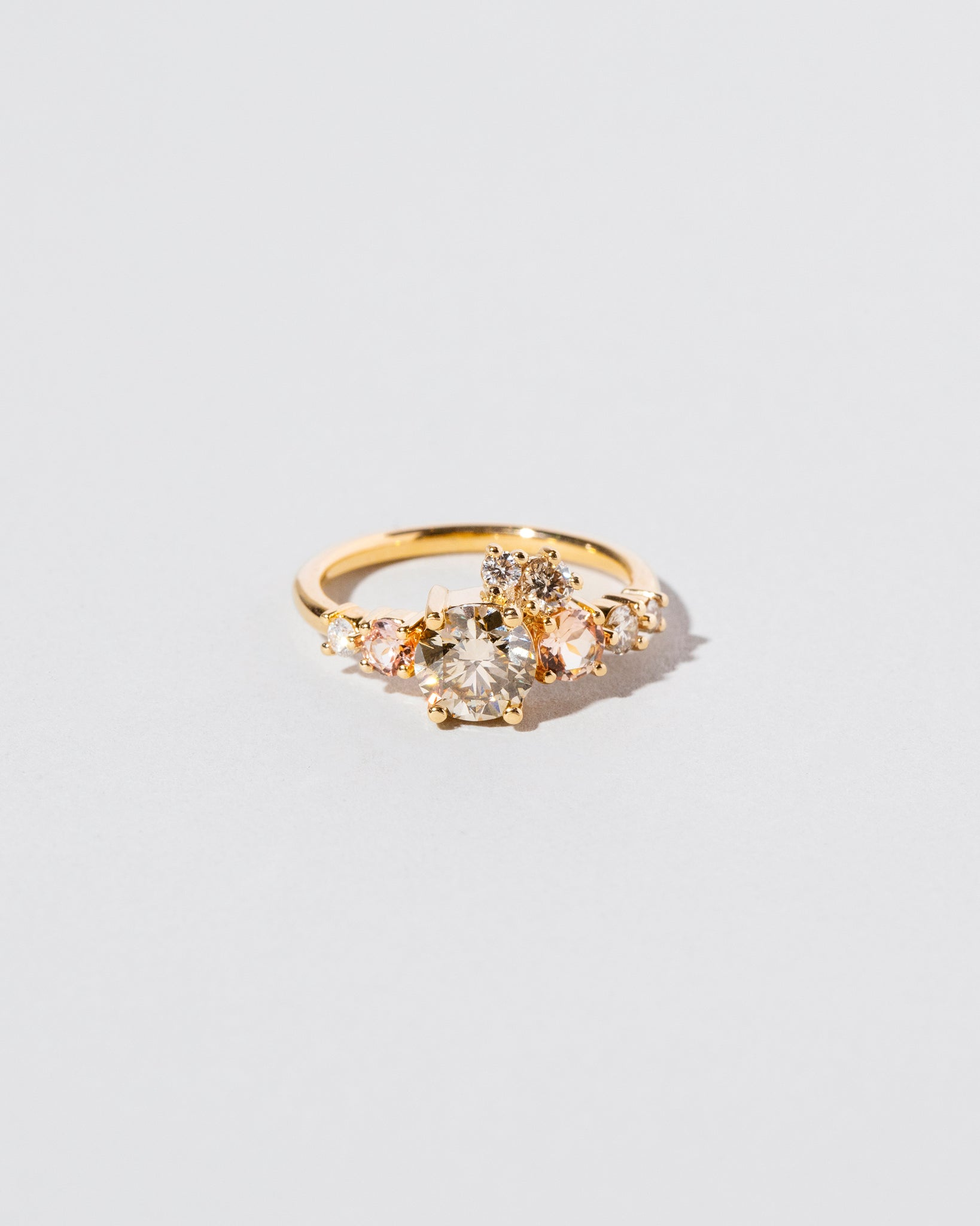 Front view of Champagne Diamond Luna Ring