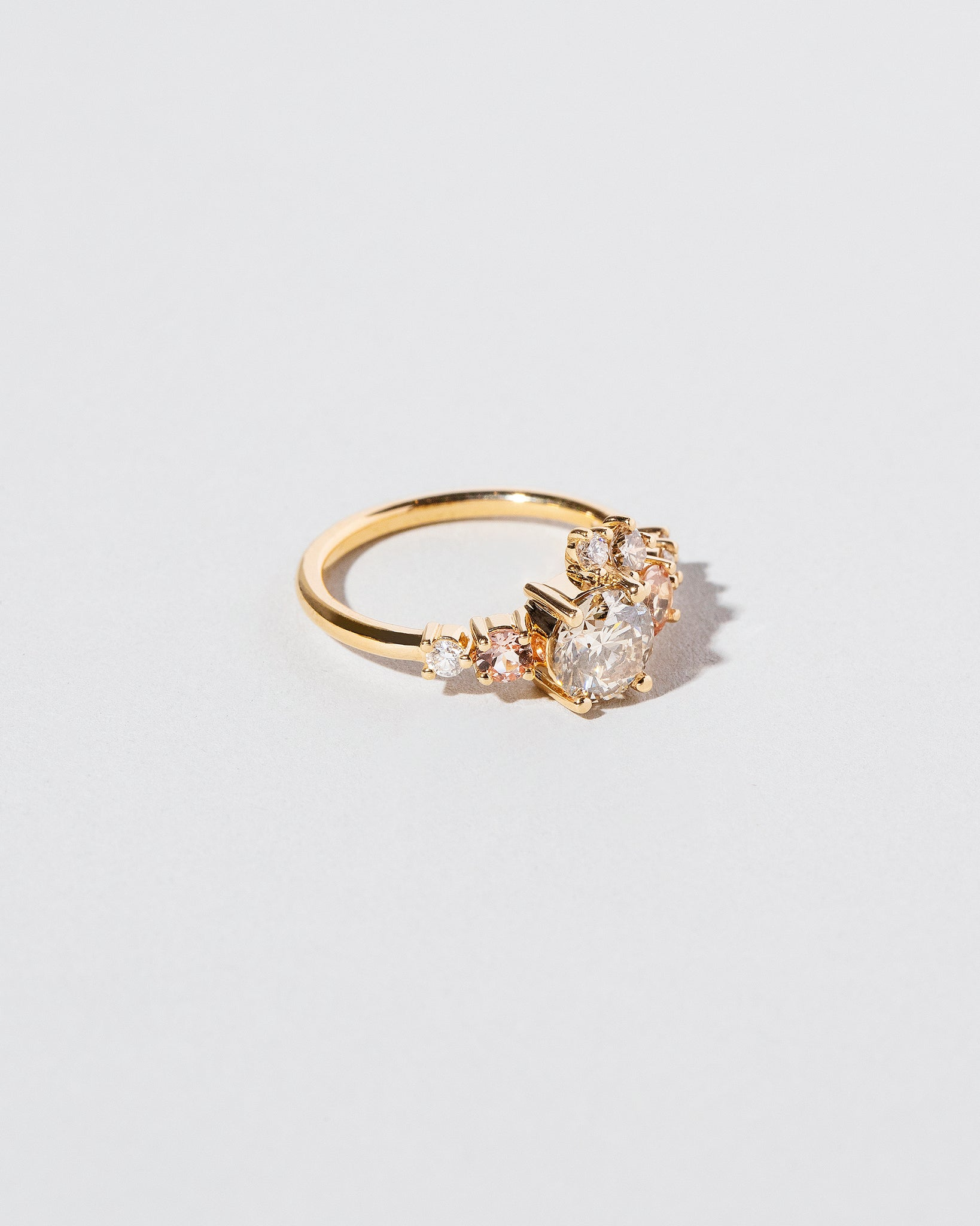 Side view of Champagne Diamond Luna Ring
