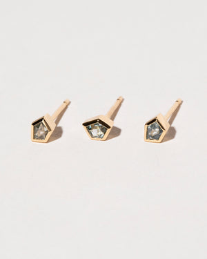 Three Sapphire Geo Single Studs