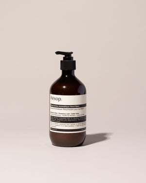 Aesop Resurrection Hand Balm on light color background.