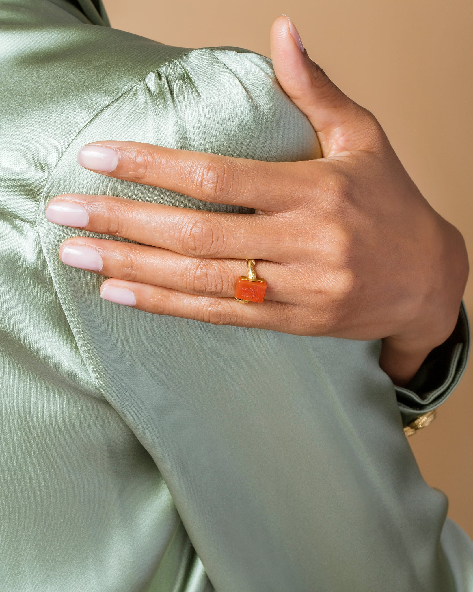 Carnelian Flip Ring side view