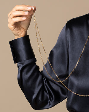 Antique Marine Chain Necklace worn on model