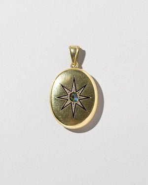 Bicolor Sapphire Locket on light color background