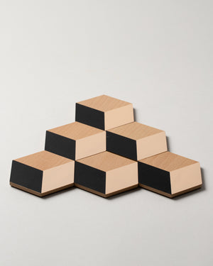 Table Tile Coasters in Black and Beige
