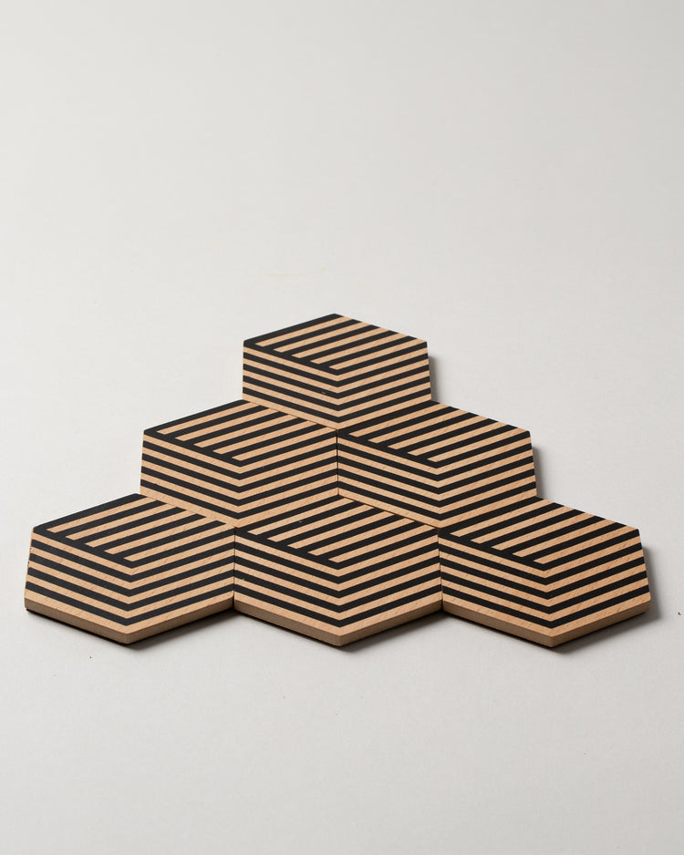 Table Tile Coasters in Optic Black