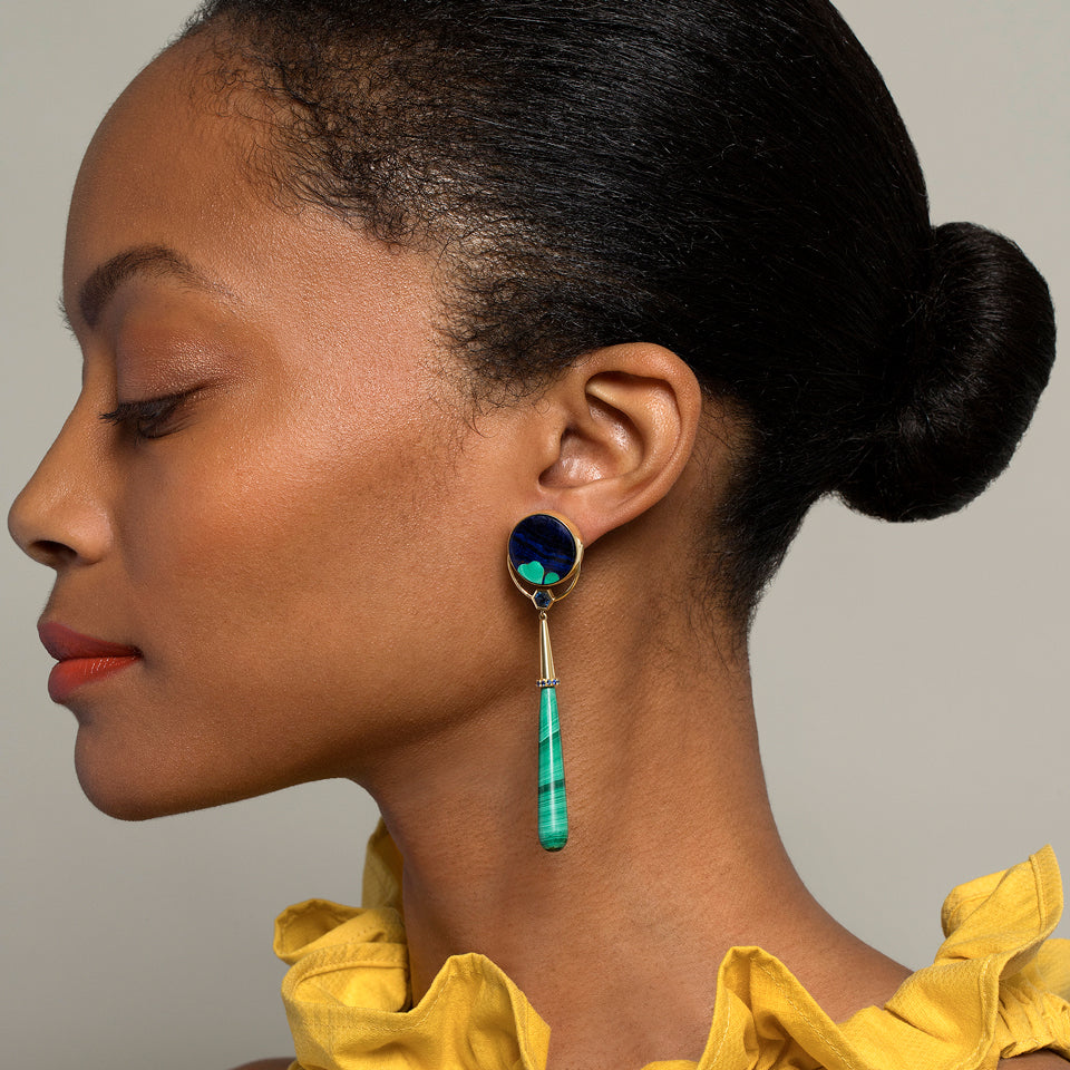 product_details::Gum Drop Azurite Malachite Earrings
