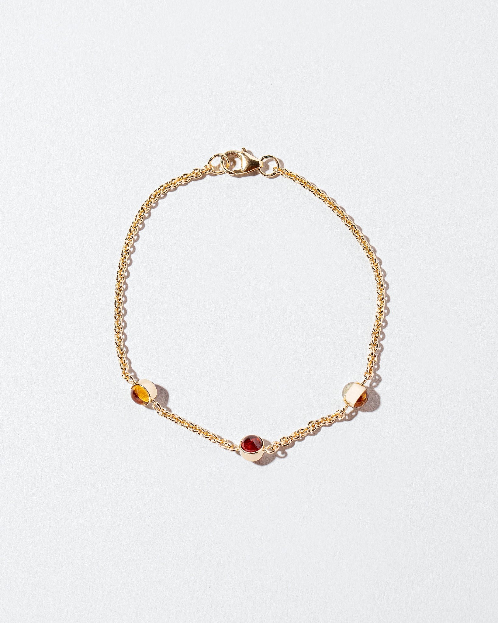 Birthstone Bracelet lying flat and clasped