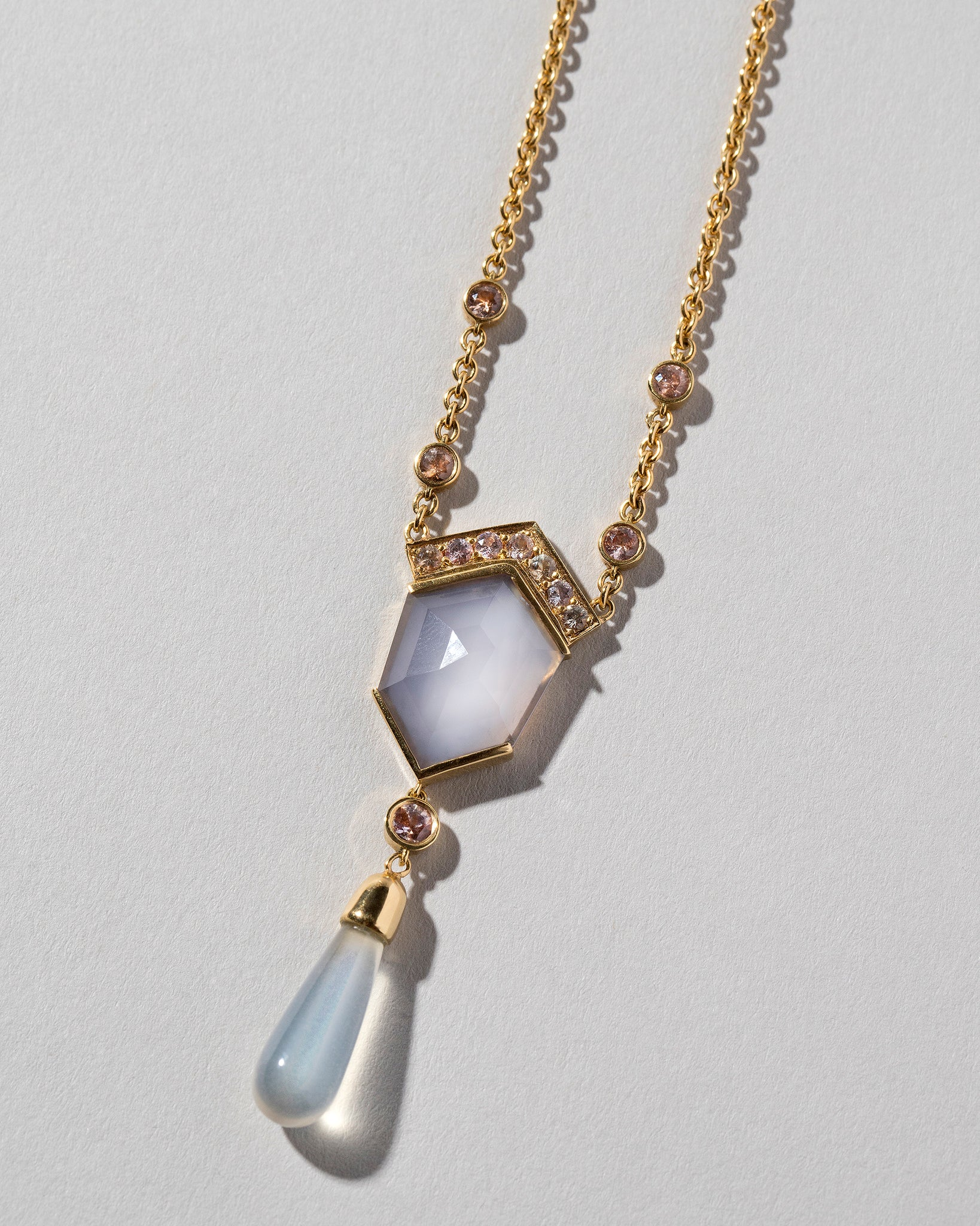 Blue Chalcedony Kite Necklace Laid Flat