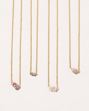 Four variations of the Bubble Pearl Necklace