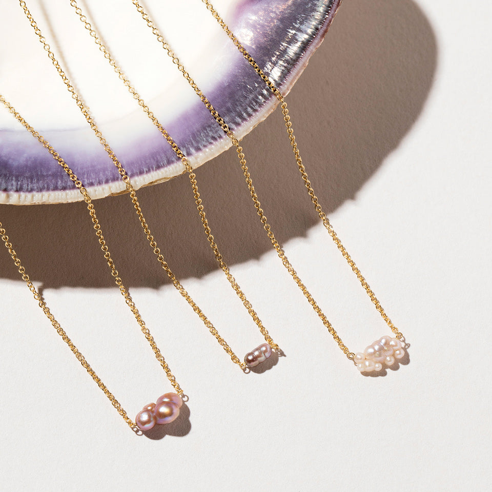 Three variations of the Bubble Pearl Necklace