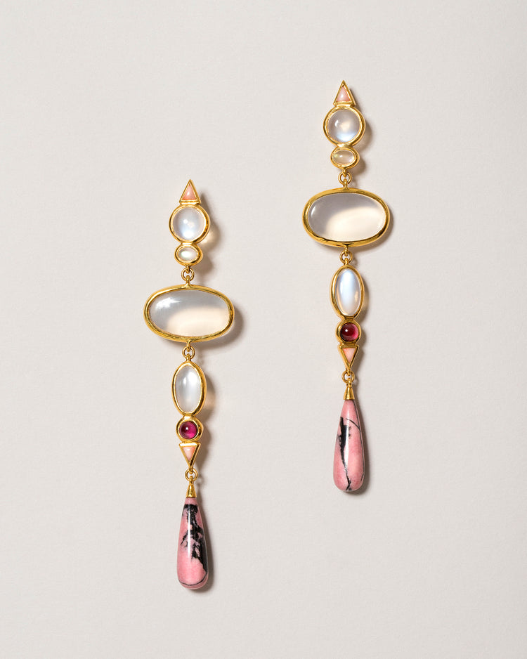 Moonstone & Alaskan Rhodolite Earrings Front View