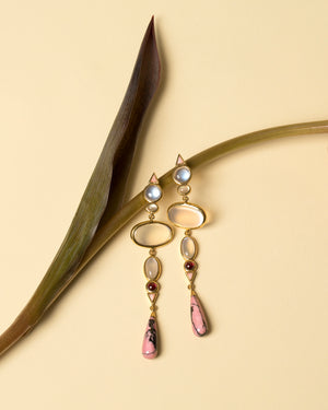 Moonstone & Alaskan Rhodolite Earrings Styled