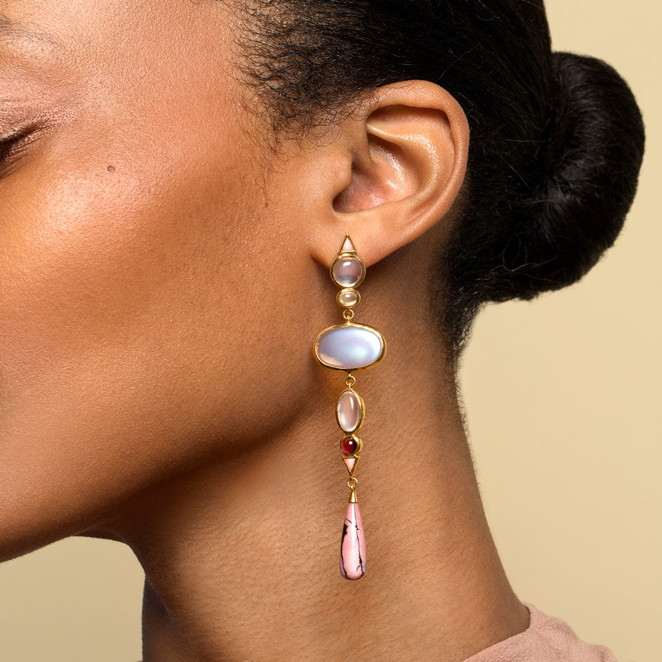 product_details::Moonstone & Alaskan Rhodolite Earrings