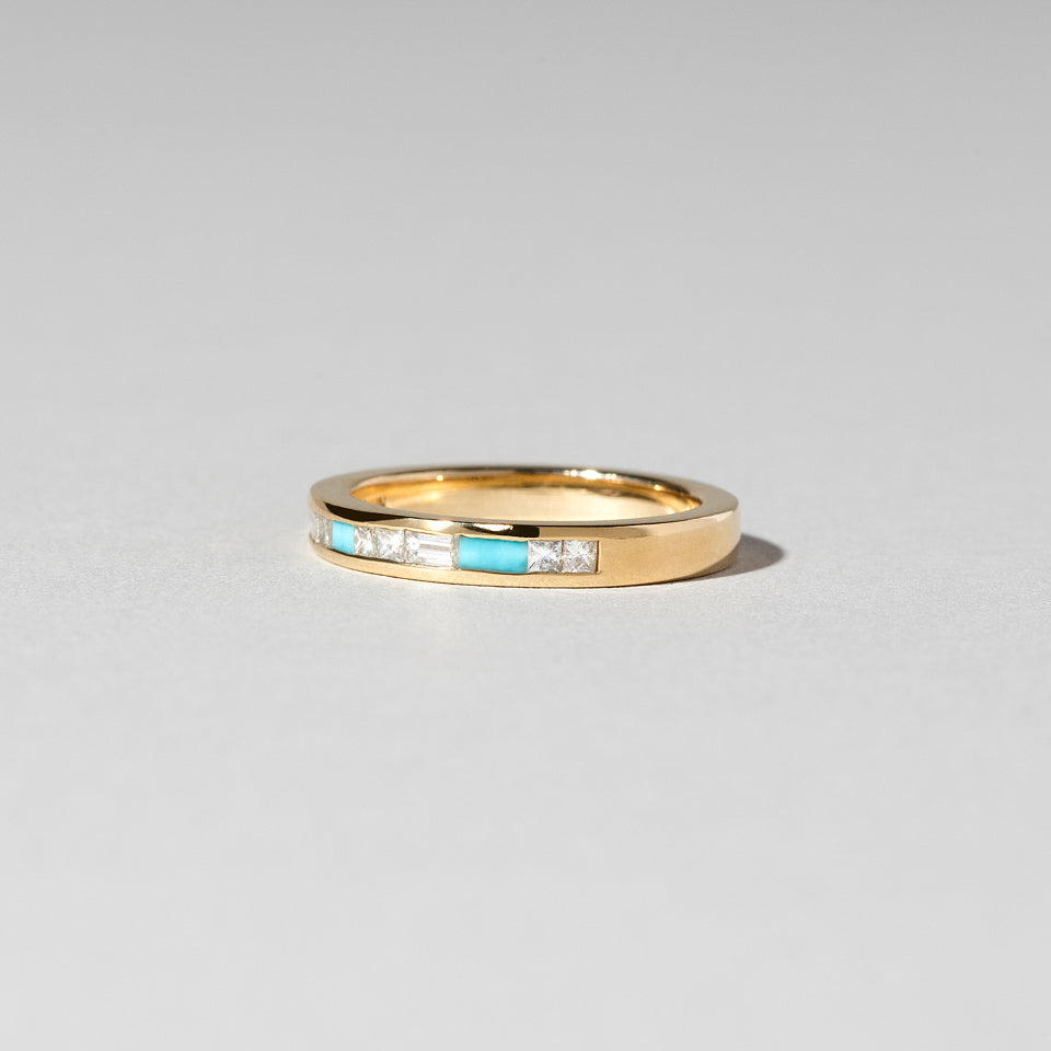 Channel Set Turquoise and Diamond Band