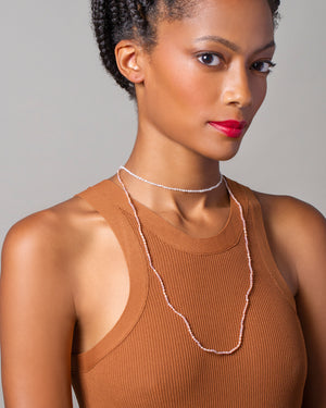 White Convertible Optical Necklace on model
