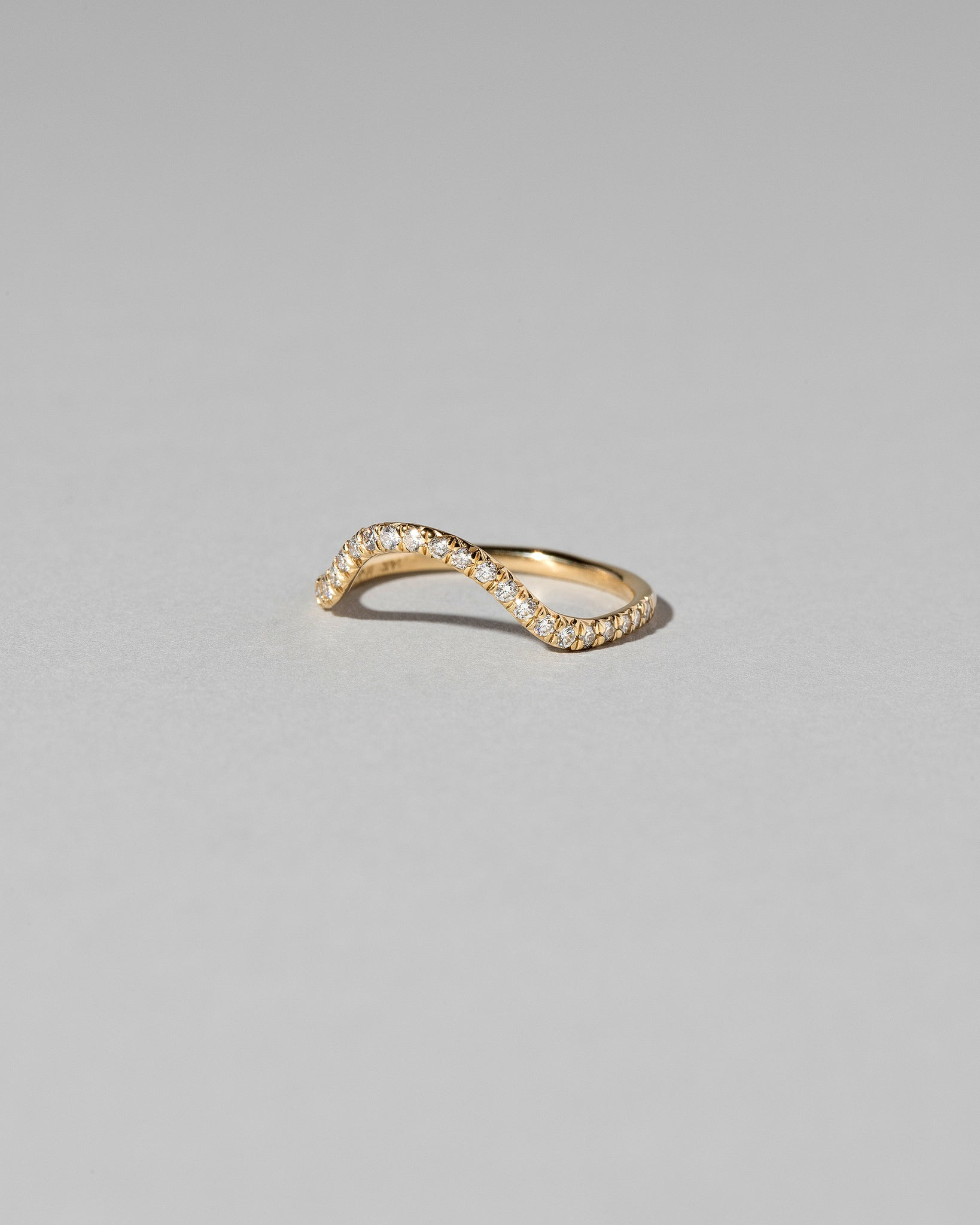 Curve Band with Micro Pavé Gemstones in White Diamonds Side View
