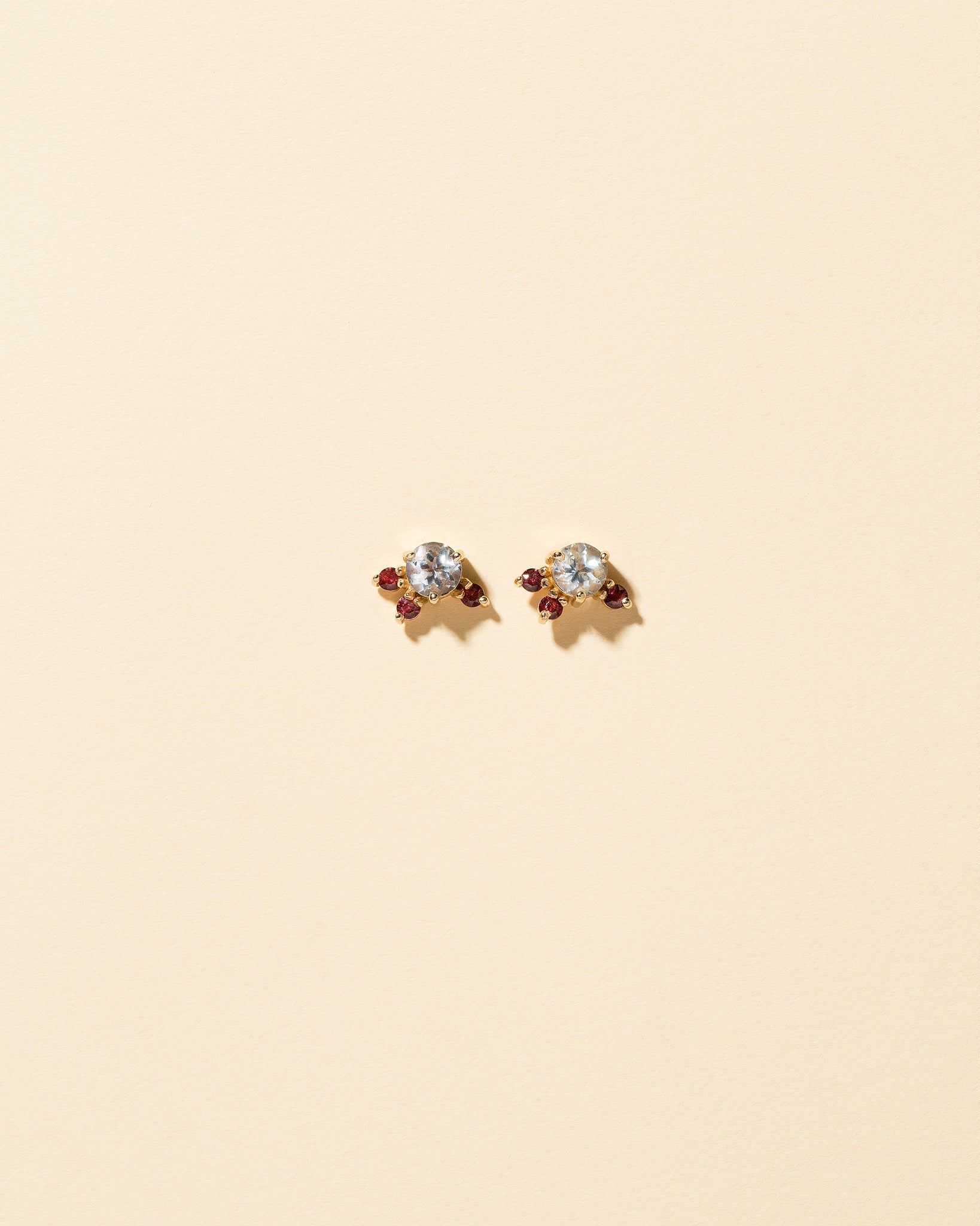 Aquamarine and Garnet Earrings