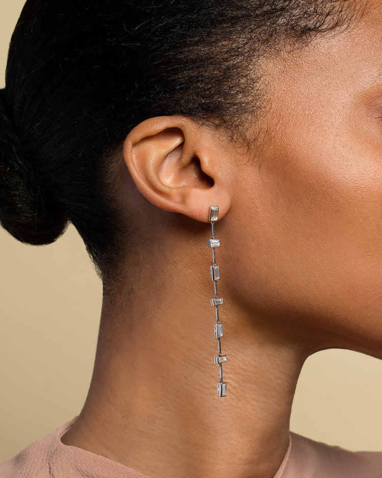 Diamond Baguette Drop Earrings on Model