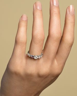 Diamond & Sapphire Line Cluster Ring on Model