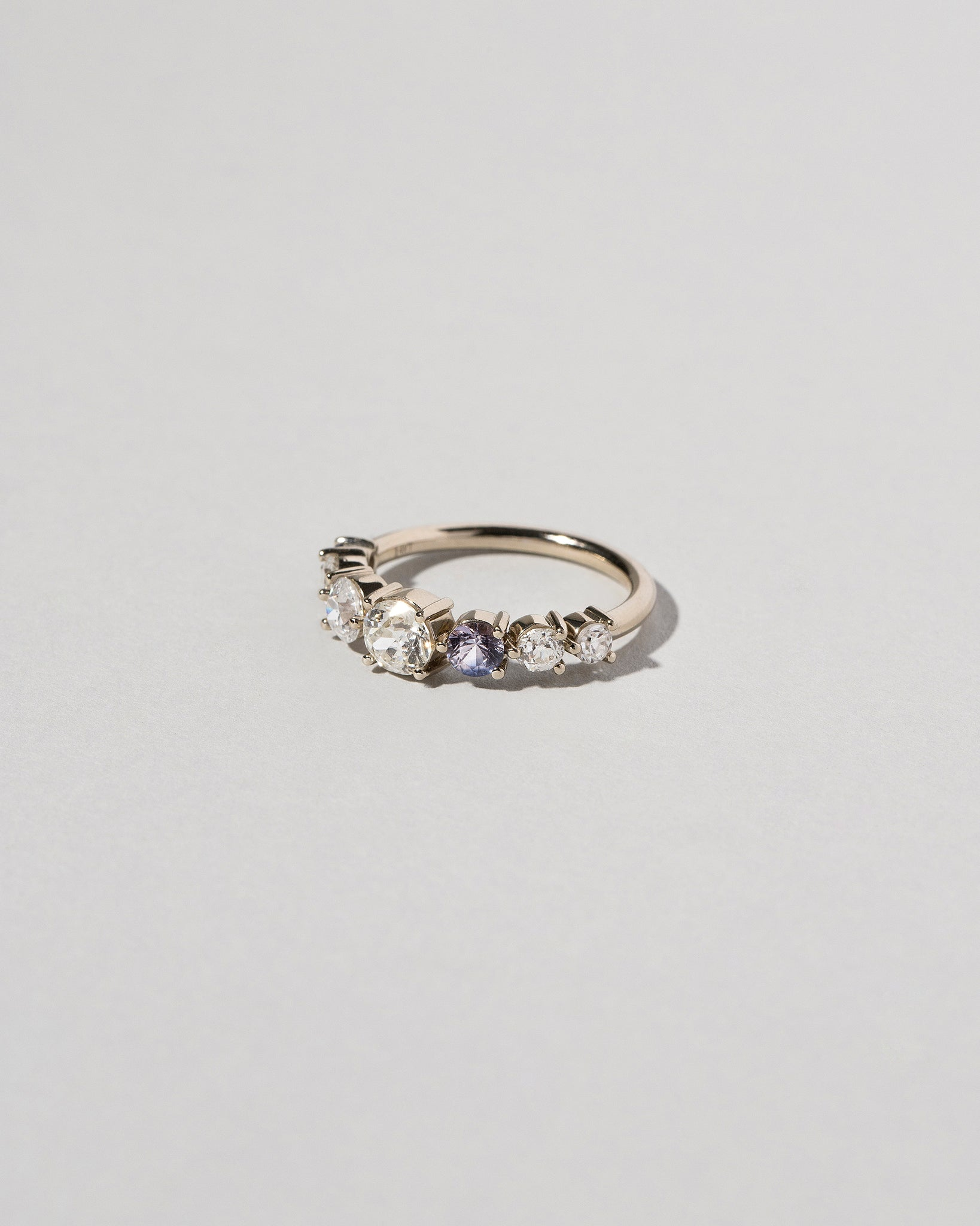 Diamond & Sapphire Line Cluster Ring Right Side
