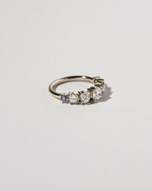 Diamond & Sapphire Line Cluster Ring Left Side
