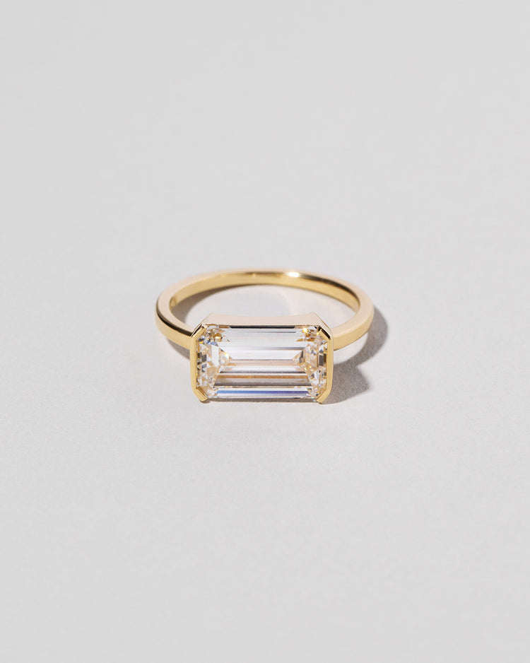 Front view of Emerald Cut Diamond Solitaire Ring