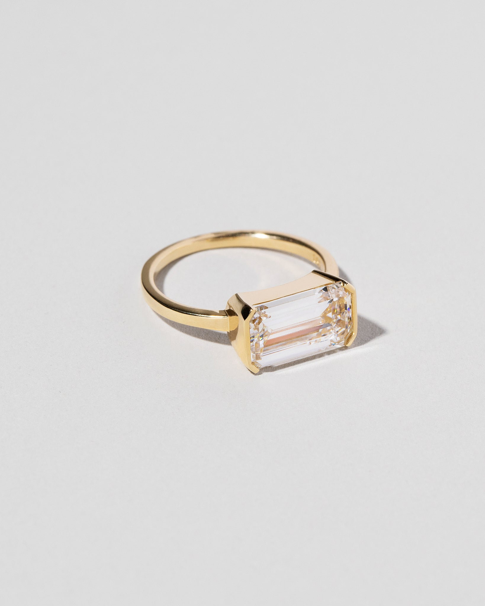 Left side view of Emerald Cut Diamond Solitaire Ring