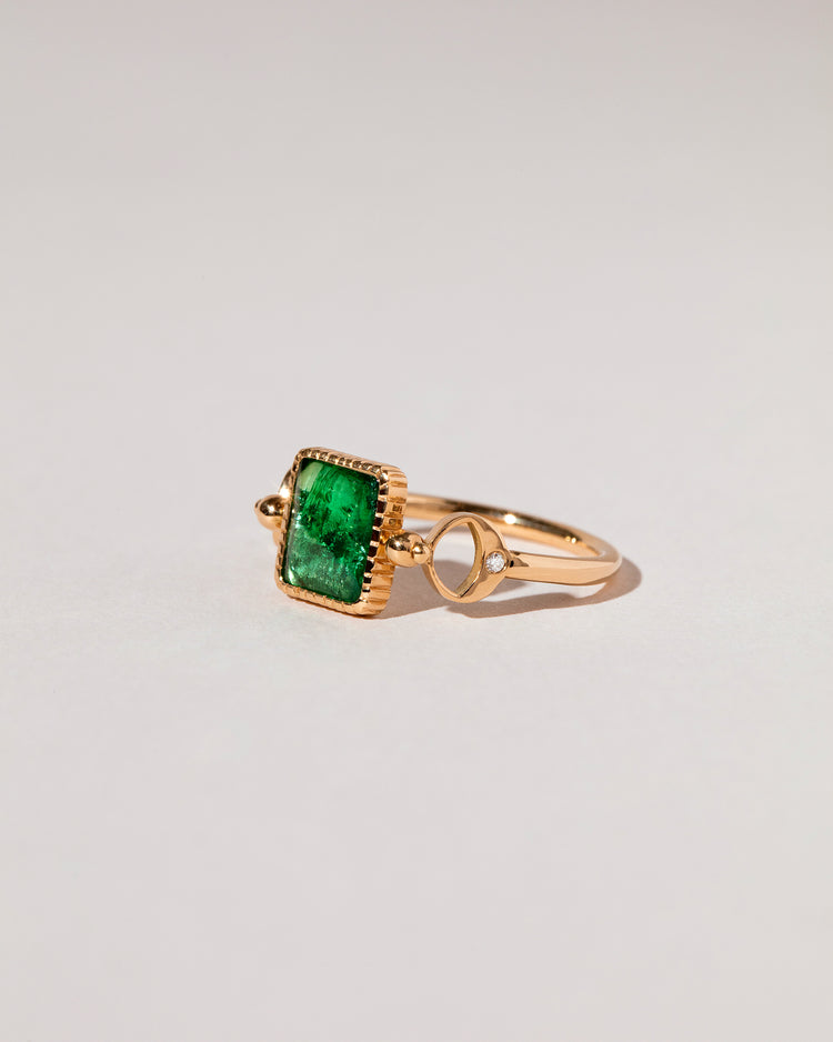 Emerald Moon Ring side view