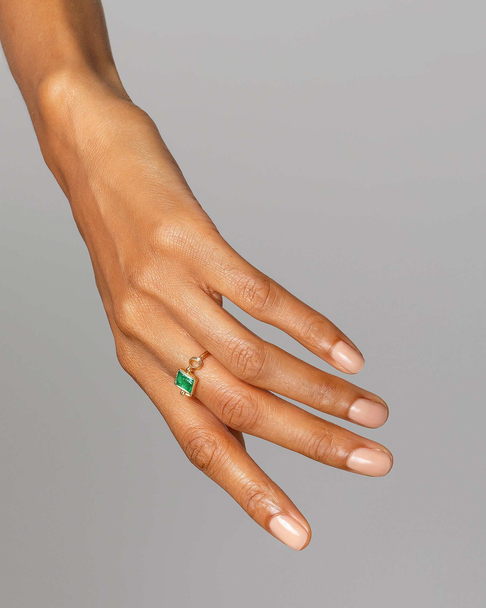 Emerald Moon Ring on model