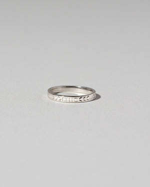 Front view of Etched Infinity Pattern Band in platinum