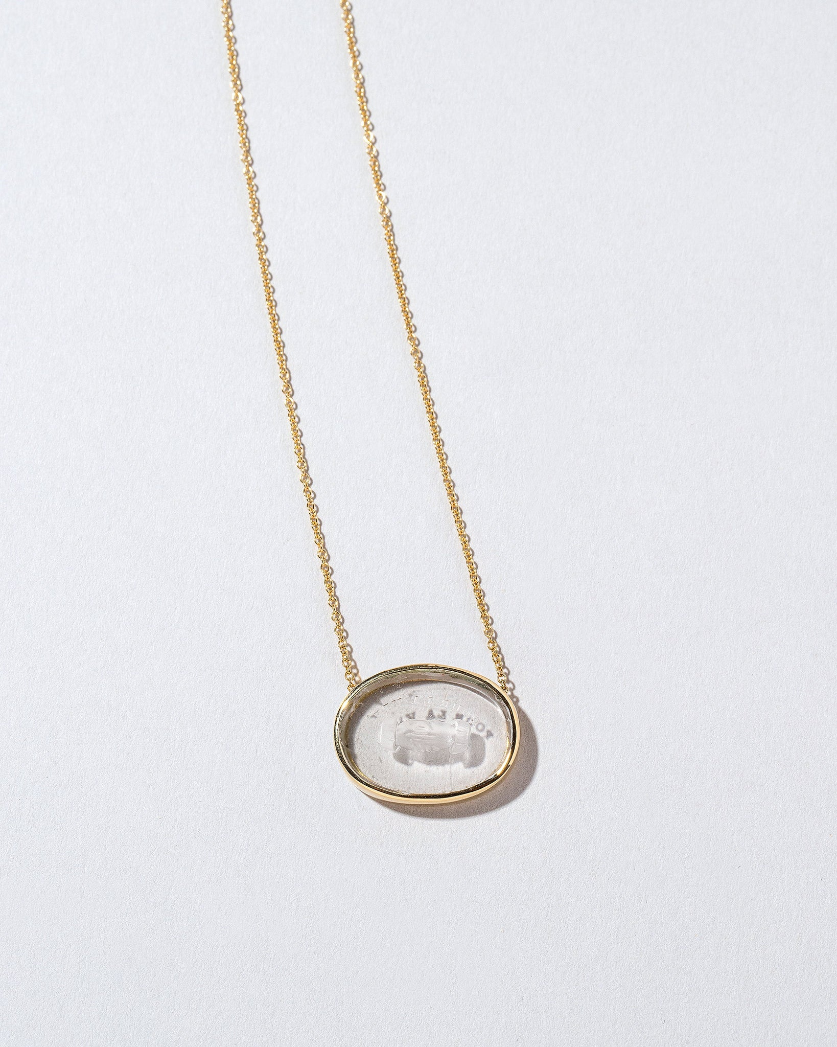 Eternity Intaglio Seal top view carving side down in necklace setting