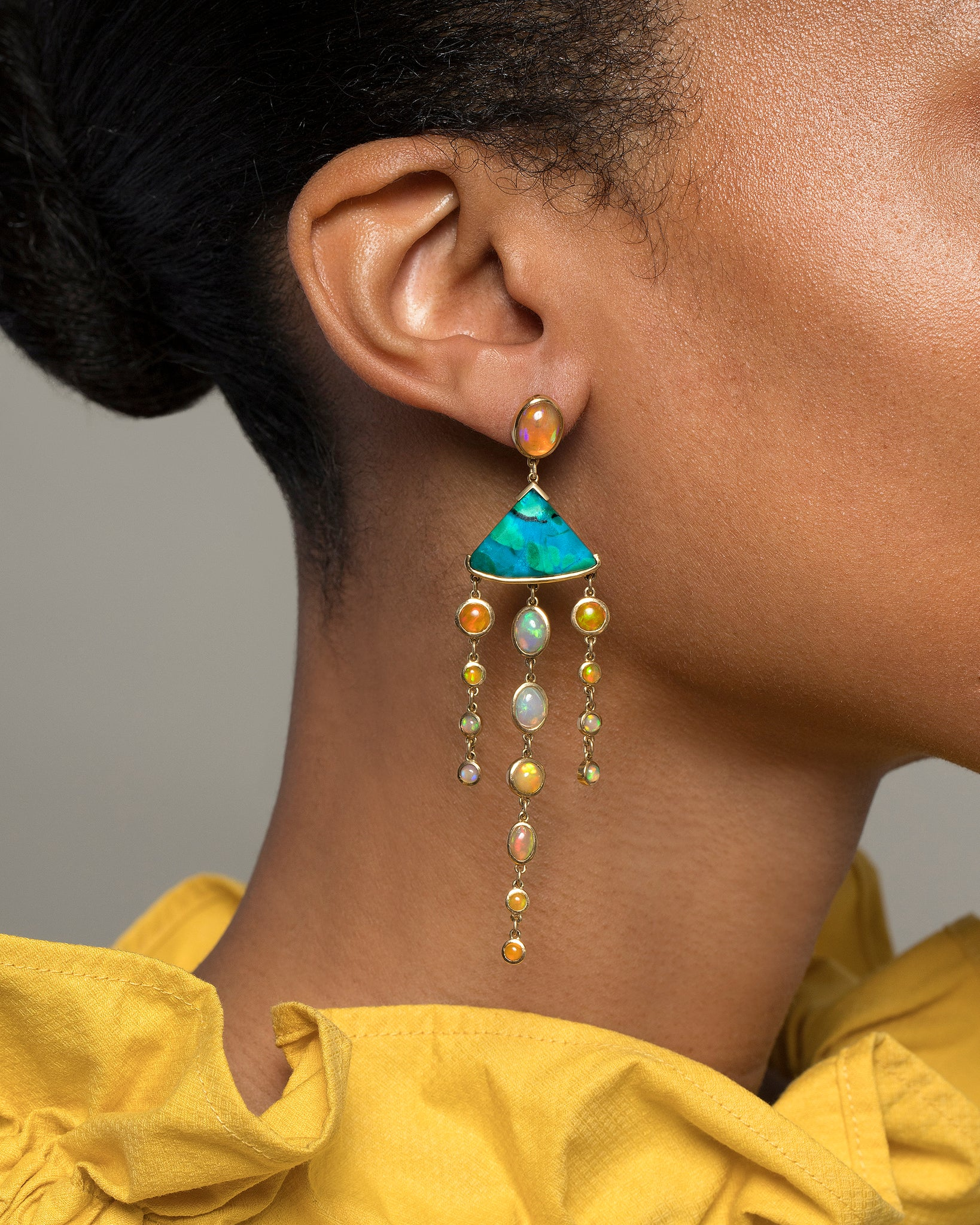 Ethiopian Opal & Chrysocolla Earrings worn on model