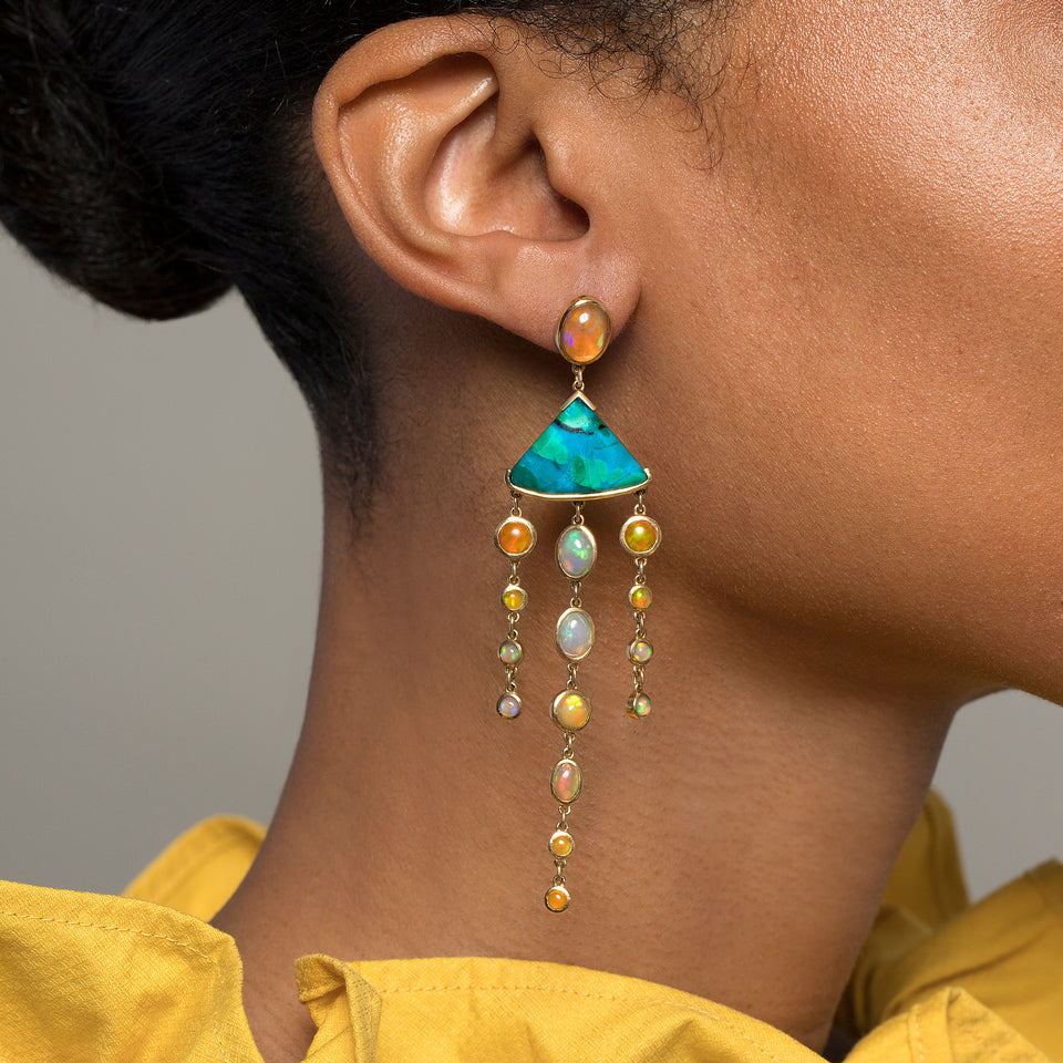 Ethiopian Opal & Chrysocolla Earrings