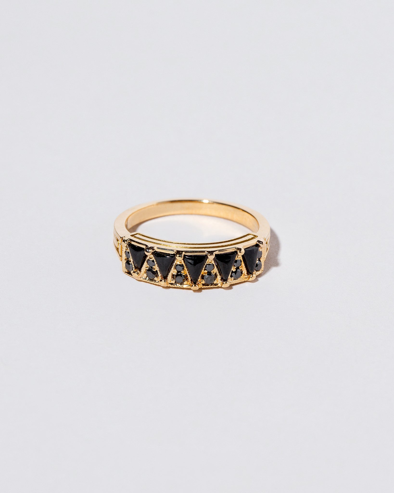 Five Triangle Ring with Black Spinel and Black diamonds