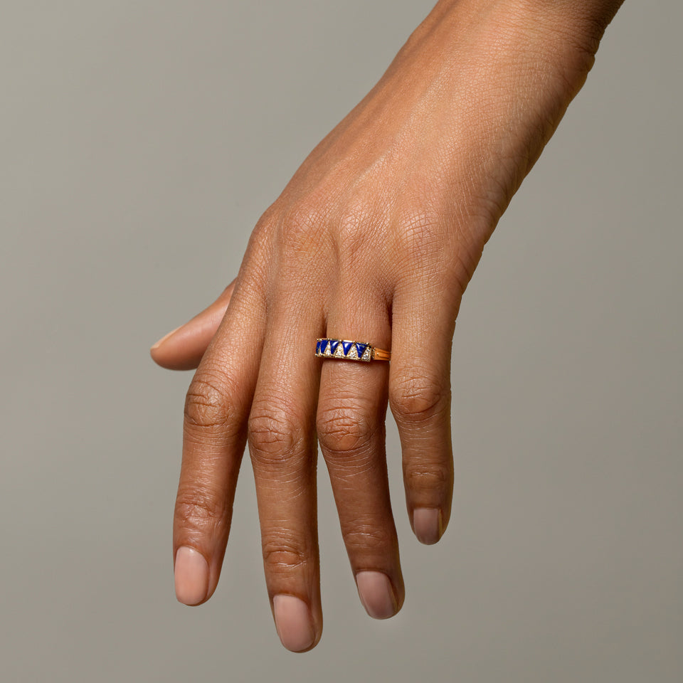 Five Triangle Blue Lapis Ring