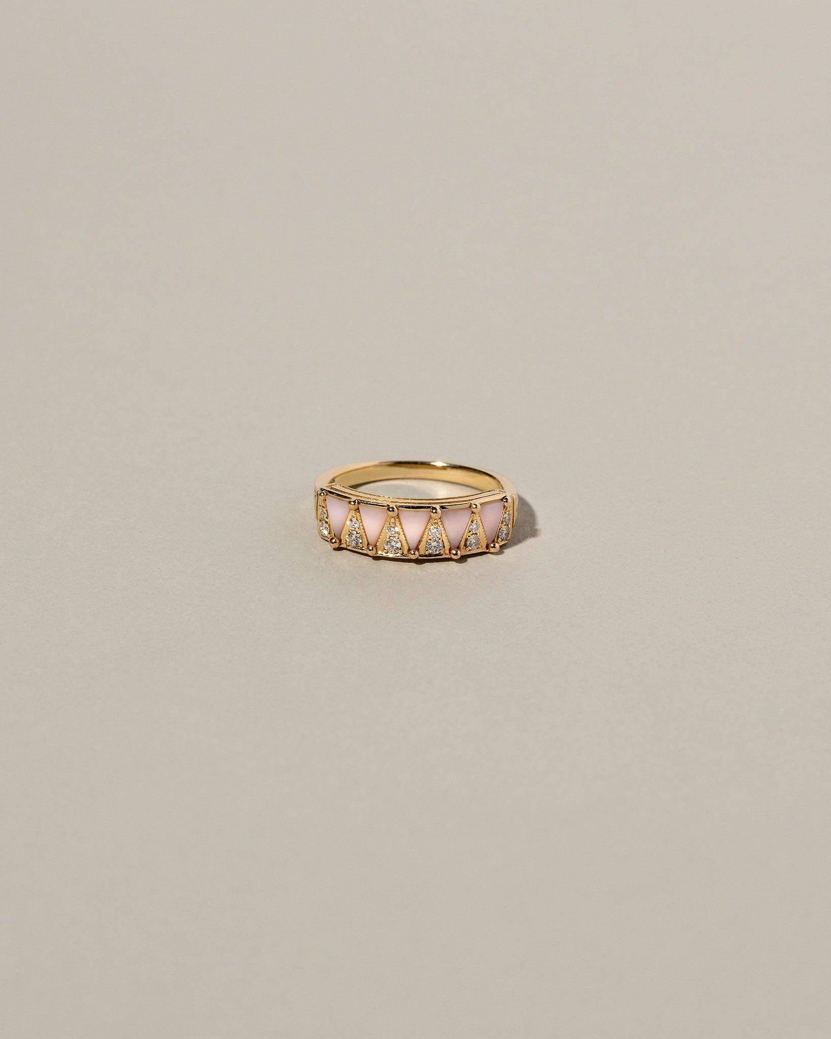 Five Triangle Pink Opal Ring Front View