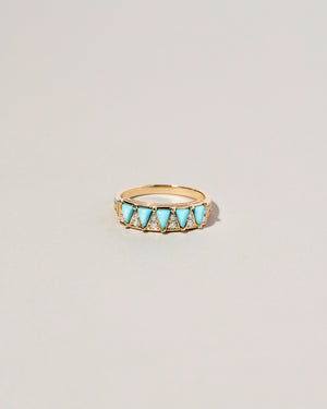 Five Triangle Turquoise Ring Front View