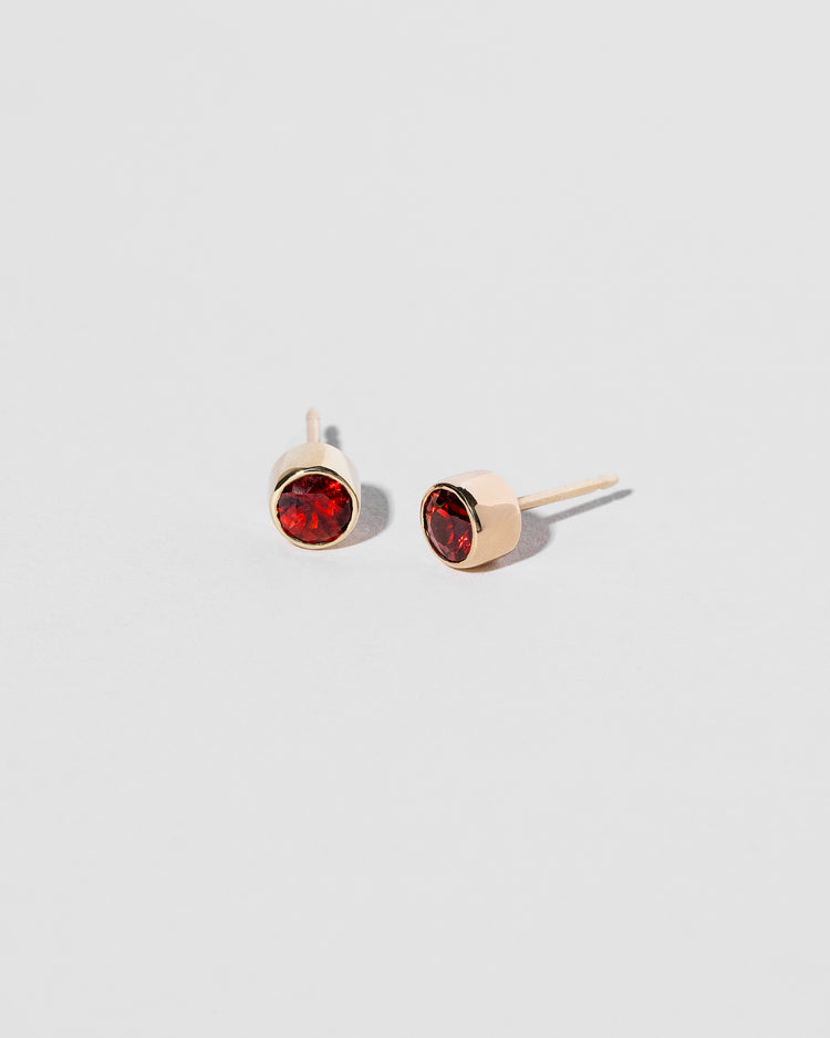 Garnet Studs front and side view
