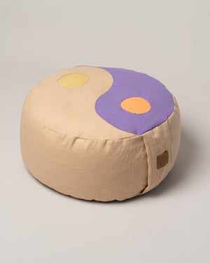 Kaschuba Hommage Yin Yang Pillow in Lilac style on flat surface