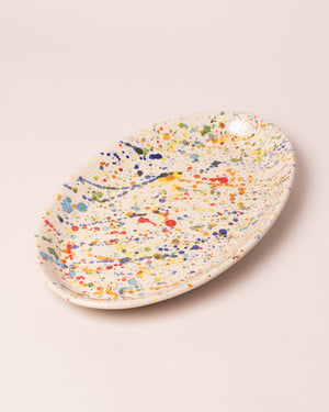 La Ceramica Oval Serving Dish colored drops