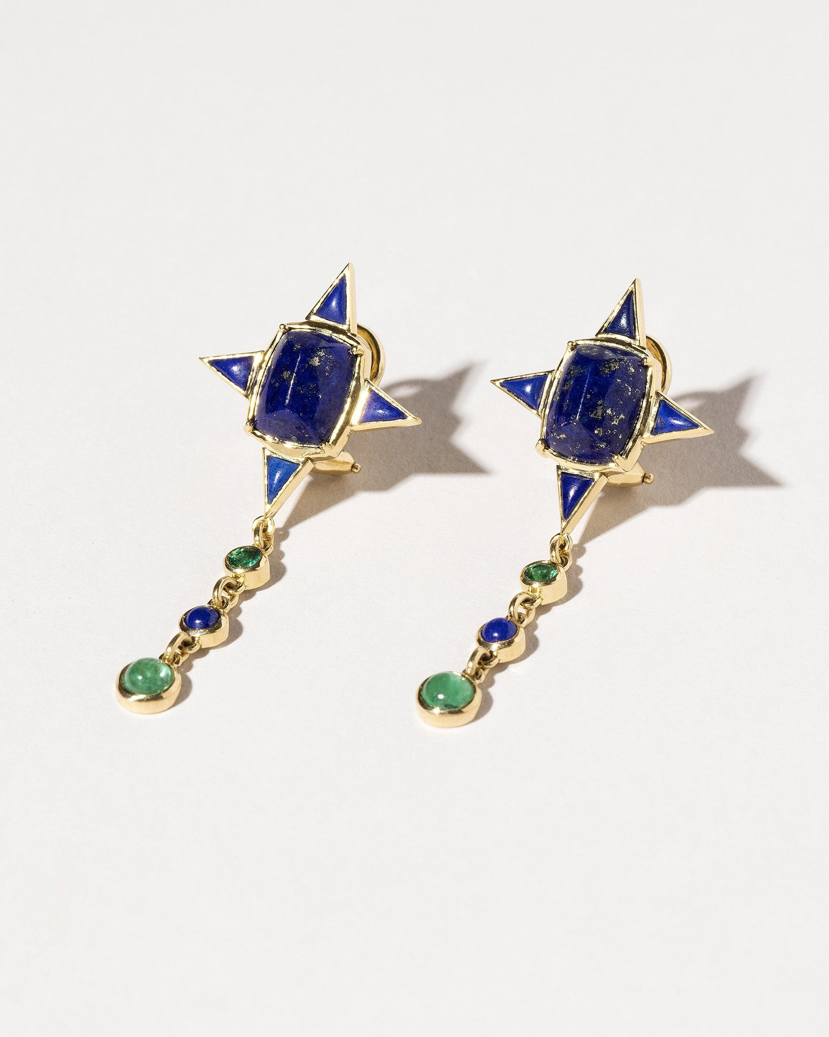 Lapis & Emerald Drop Earrings
