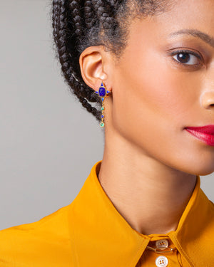 Lapis & Emerald Drop Earrings on model