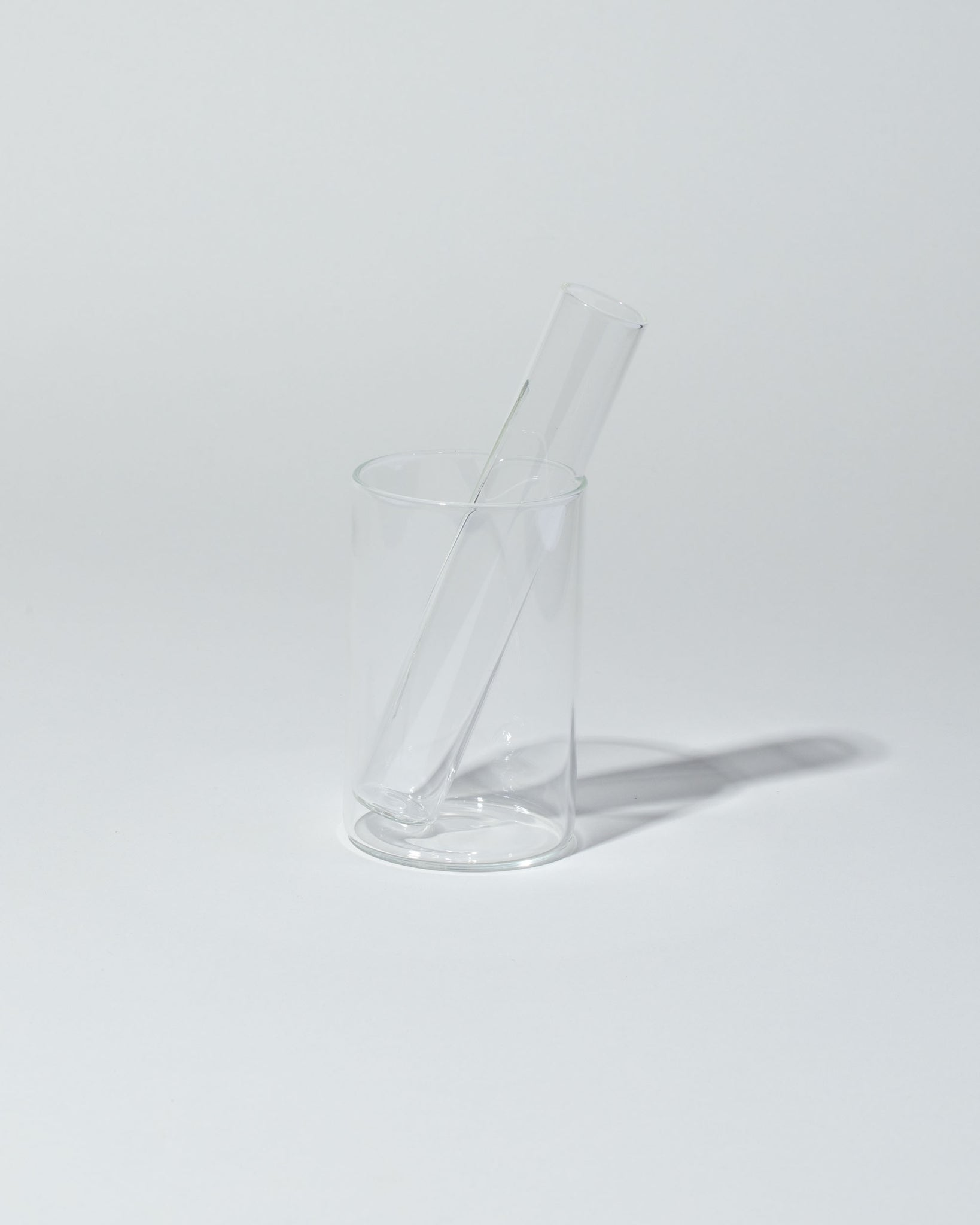 Laurence Brabant Glass Tea Cup and Brewer stacked side view