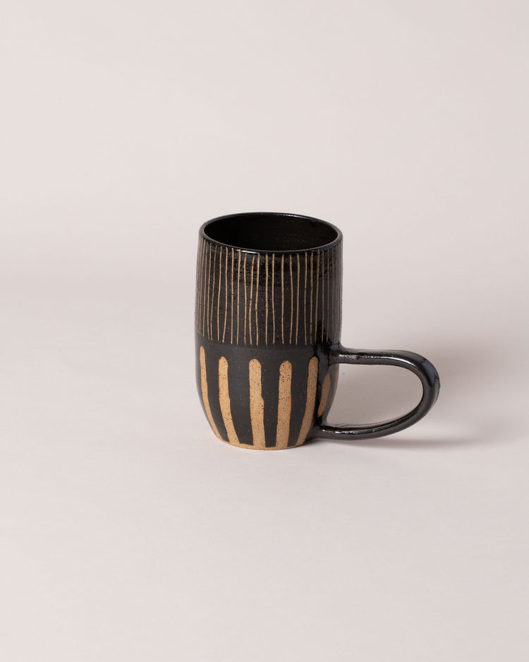 Little Bear Pots Striped Mug in black