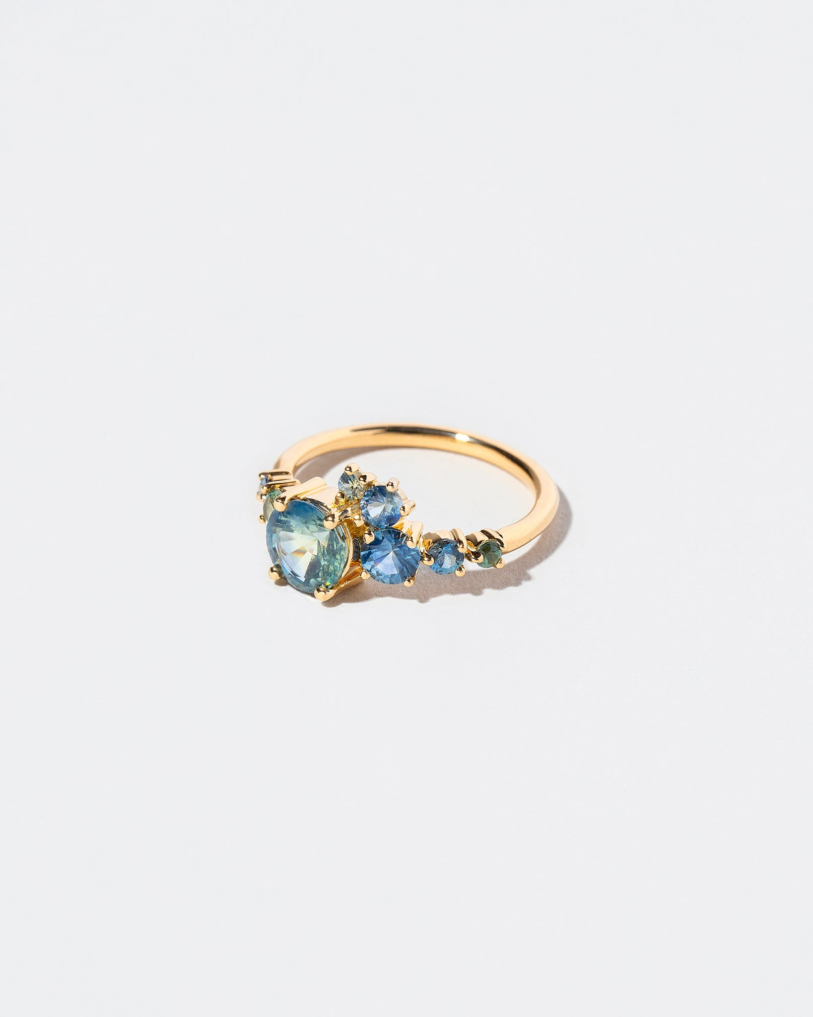 Bicolor Sapphire Luna Ring right view