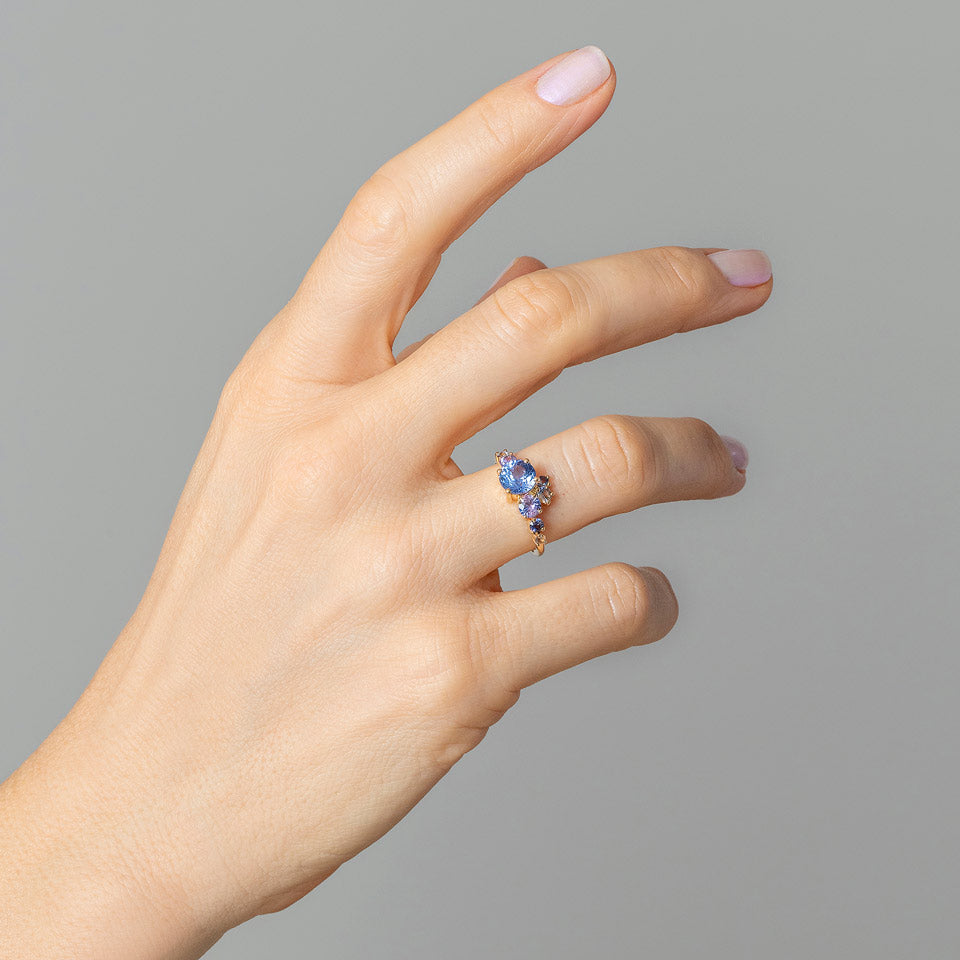 product_details::Purple & Blue Sapphire Luna Ring on model
